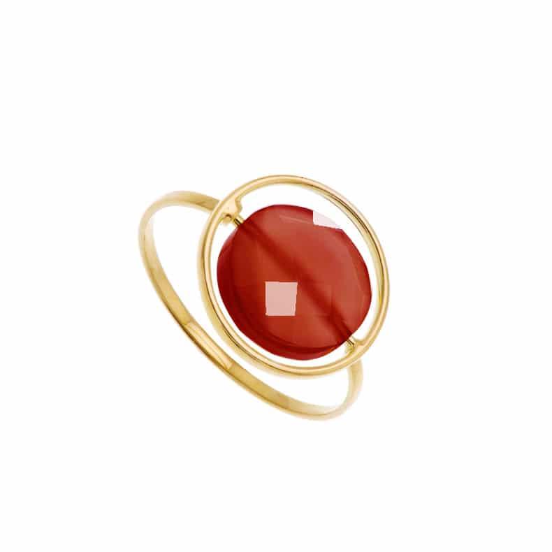 Bague Petit Regard interchangeable Agate rouge
