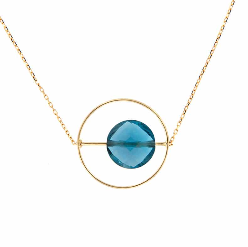 Collier Petit Regard interchangeable Topaze Blue London