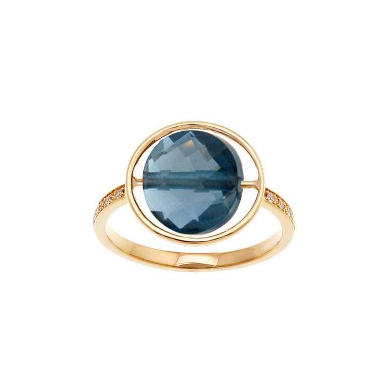 Bague Petit Regard diamant Topaze Blue London