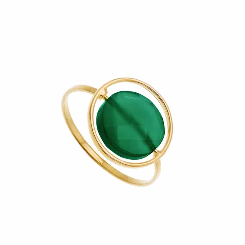 Bague Petit Regard interchangeable Agate verte